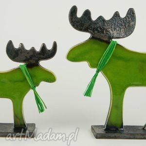 Łoś świąteczny - ,zwierzęta,ceramika,figurki,łoś,