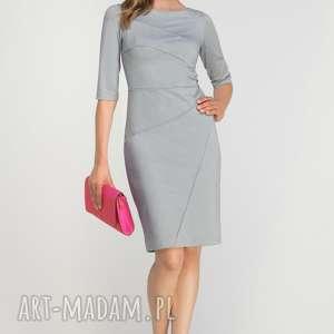 dopasowana sukienka z przeszyciami, suk146 szary, casual, przeszycia, szara