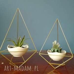 zestaw geometrycznych doniczkek w stylu himmeli - 2x diament, doniczek