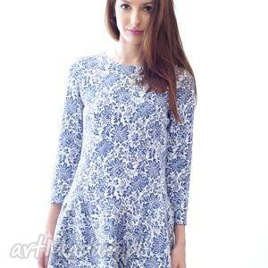 sukienka floral blue, sukienka, kwiaty, dziewczęca, polska, ornament, elegancka