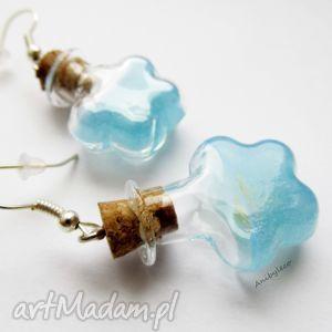 handmade kolczyki kolczyki - fiolki z niebieskim płynem