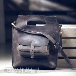 torba skórzana szara, ręcznie robiona NavahoClothing, torba-skóra, torebka, na-ramię
