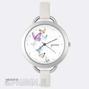 zegarek, bransoletka - motyle, bransoletka, skórzany, prosty, motyle