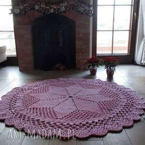 dywan dace, 170 cm, różowy, ze sznurka, szydełkowy, z bawełny