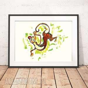 małpka plakat, grafika z małpką, obrazek ilustracja, małpa