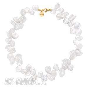 złoty naszyjnik z naturalnych pereł - perły, elegancki, masywny