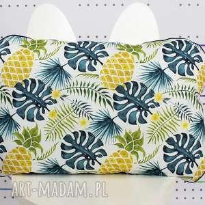 płaska poduszka do łóżeczka ananasy monstera, poduszka, ananas, monstera