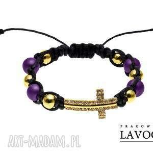 golden cross in violet - złoto krzyż, koraliki, cyrkonie, makrama