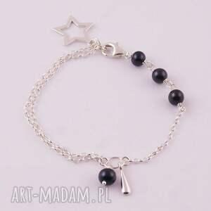 Black star, bransoletka z czarnych pereł - HandMade
