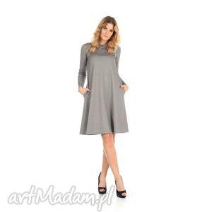 2-sukienka rozkloszowana j.szara,długa, lalu, sukienka, dzianina,