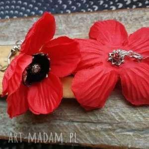kolczyki kwiaty etno maki lekkie, kolczyki, maki, kwiaty, slub, etno