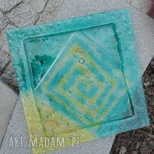 Szklana patera kwadrat 40 x cm szkło renata bulkszas fusing