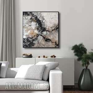 błędne skały - abstrakcyjny obraz ręcznie malowany 80x80 cm, dobra sztuka, art