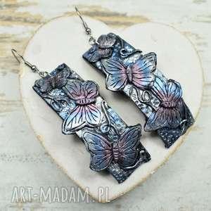 Prezent Kolczyki wiszące z motylami, długie-kolczyki, wiszące-kolczyki