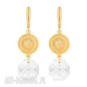 złote długie kolczyki z medalionami i kryształami swarovski® crystal