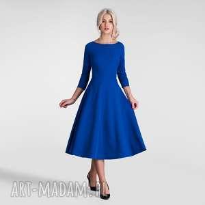 sukienki sukienka klara 3/4 total midi szafir, sukienka, midi, szafirowa