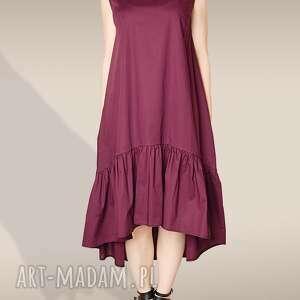 bordowa sukienka z marszczoną falbanką, marszczona, falbana, falbaniasta,