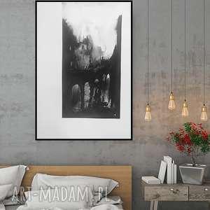 duży obraz, abstrakcja czarno-biała, obraz malowany czarnym tuszem, plakat 50x70