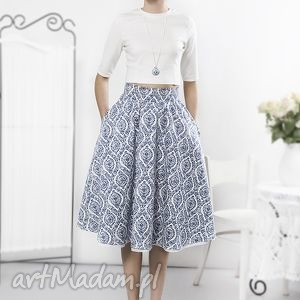 niebieska porcelanowa spódnica, retro, porcelanowa, bawełna