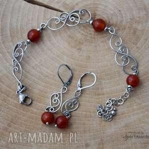 Komplet: kolczyki i bransoletka z karneolem, wire wrapping, stal