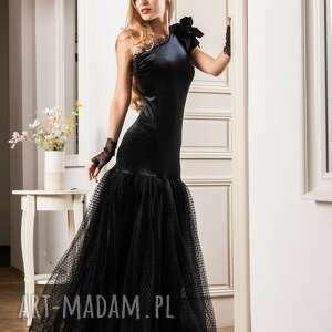sukienki welurowo tiulowa suknia wieczorowa midnight