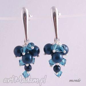 kolczyki grona petrol pearl - biżuteria niebieskie, swarovski, srebro