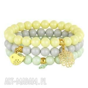 handmade bransoletki pearls - yellow, pistachio, grey