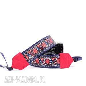 pasek do aparatu fotograficznego kwiatuszki z czerwonym, foto pasek, dla fotografa
