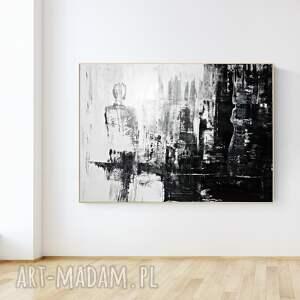 duża abstrakcja z wyraźną strukturą, obraz miasto w stylu industrial 100 x 140