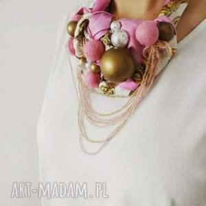 PINK-PONG naszyjnik handmade, naszyjnik, kolia, róż, różowy, złoty