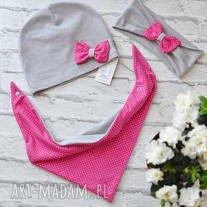 bukiet-pasji cienki komplet dla dziewczynki czapka komin - wiosenna, szalik