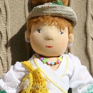 lalka waldorfska ruda plażowiczka z ubrankami i dodatkami, lalka