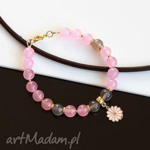 różowo-szara bransoletka, jadeit, agat, pozłacana, kwiat, metal