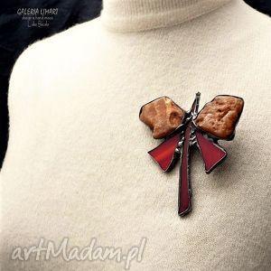 Prezent luksusowy dla ukochanej BABCI :) Broszka motyl bursztynowy,