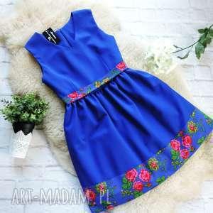 Sukienka folkowa z motywem ludowych kwiatów, sukienka, folkowa, ludowa, góralska