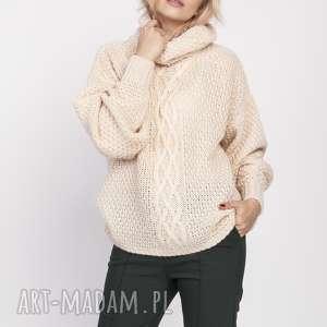 swetry obszerny golf, swe137 beż mkm, dzianinowy, szeroki, gruby, luźny