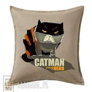 poduszka catman, kot, bohater, poduszka, dekoracja, bawełna