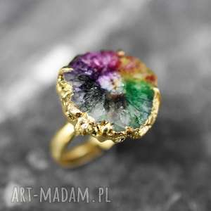 RADOŚĆ ŻYCIA pierścionek kwarc solarny (regulowany), kamień, kolorowe, kobiecy, letni