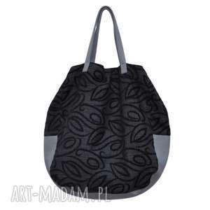 na ramię 06-0006 czarna torba worek xxl zakupy swallow maxi, duże-torebki-damskie