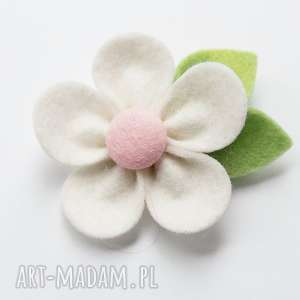 spinka do włosów kwiatek biały, filc, spinka, dziewczynka, kwiatek, lato