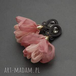 unikalny, klipsy sutasz z kwiatkiem, sznurek, wyjściowe, grafitowe
