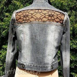 kurtka z jeansu z koronką - kurtka, jeans, dżins, koronka, modna, recykling