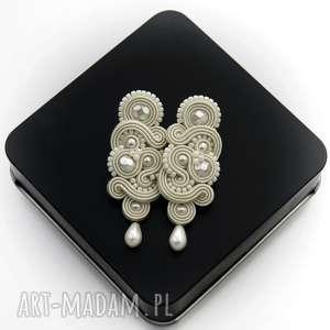 kolczyki soutache nilino pearl, sutasz, soutache, romantyczne, perłowe, kobiecie