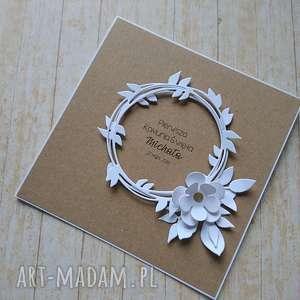 kartka zaproszenie minimalizm i elegancja, biel i eko - komunia, chrzest, ślub