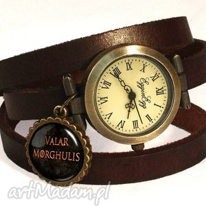 valar morghulis - zegarek bransoletka na skórzanym pasku, tron, gra