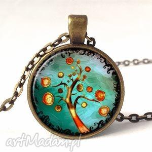 jesienne drzewo - medalion z łańcuszkiem, drzewo, jesień, prezent, turkus, drzewko