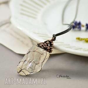 crystal net - naszyjnik z wisiorem - naszyjnik, wisior, miedź, kryształ