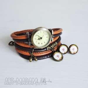 zegarki komplet - dmuchawiec zegarek i kolczyki, zegarek, bransoletka