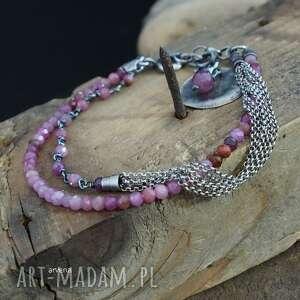 rubiny - bransoletka 01, srebro oksydowane, rubin, z rubinami