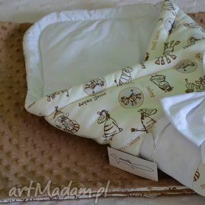 hand-made dla dziecka karmelowa zebra - zestaw becik i kocyk